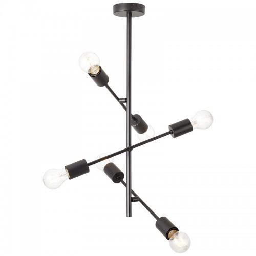 Brilliant Elvera Φωτιστικό Οροφής 6φωτο Σε Μαύρο Χρώμα 99083/06